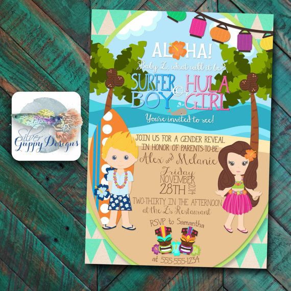 Luau/Beach themed Gender Reveal Baby Shower Invitation by ...