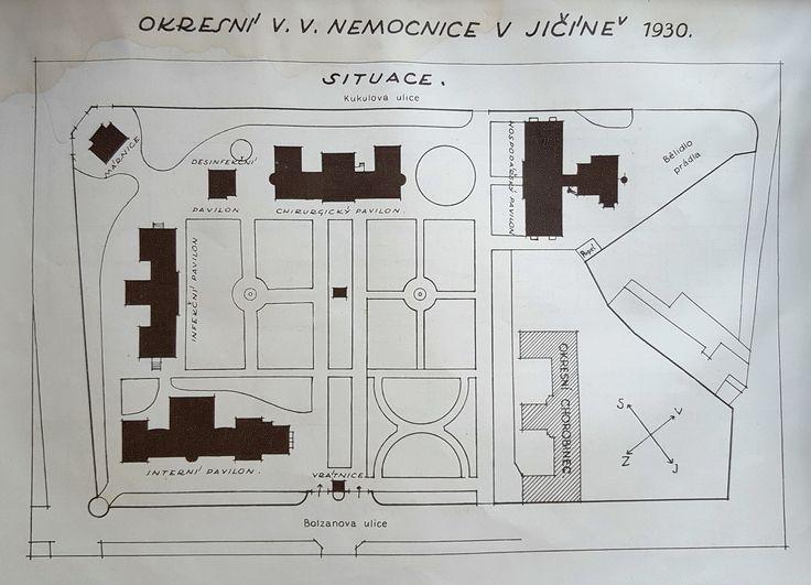 Jičín District Hospital Layout in 1930