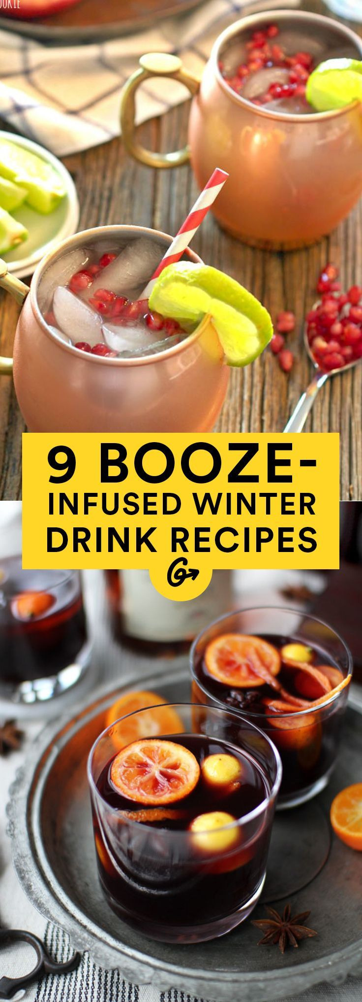 Whether served hot or cold, a drop (or five) of alcohol in these drinks goes a long way. #winter #cocktails http://greatist.com/eat/winter-cocktail-recipes