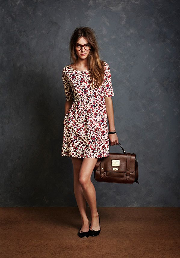 Floral Mini Dress + Black Ballerinas. Jack Wills Autumn Look Book