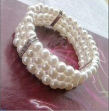 Hot Women Elegant Fashion Three Layer Pearl Multilayer Elasticity Lady Bracelet