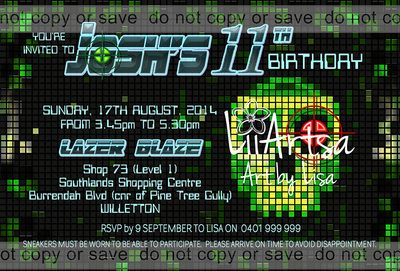 Skull Pixels Childrens Birthday Invitations