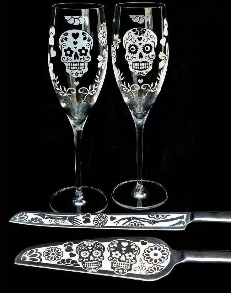 Sugar skull wine glasses with cake serving utensils