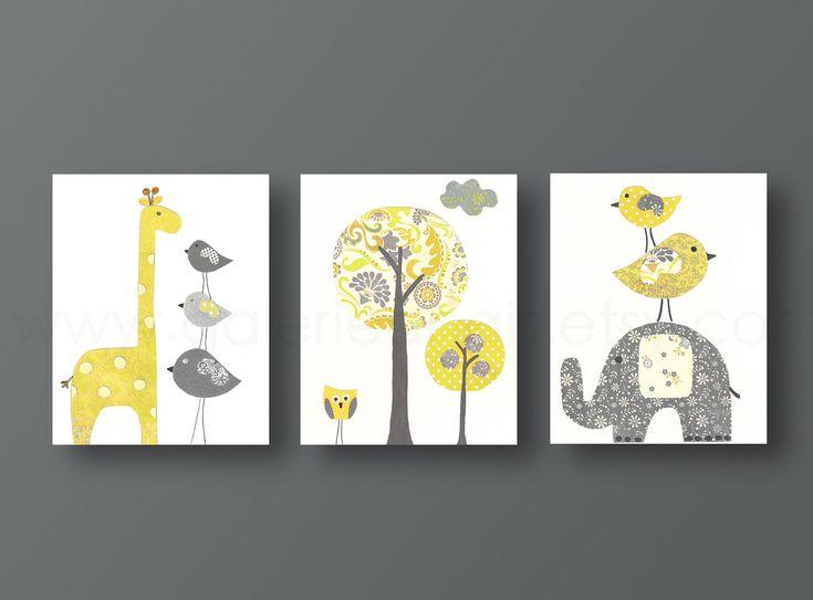Nursery art print, baby nursery decor, nursery print, Kids art, yellow, gray, elephant, giraffe, bird, Tree, Set of three 11x14 prints. $66.00, via Etsy.