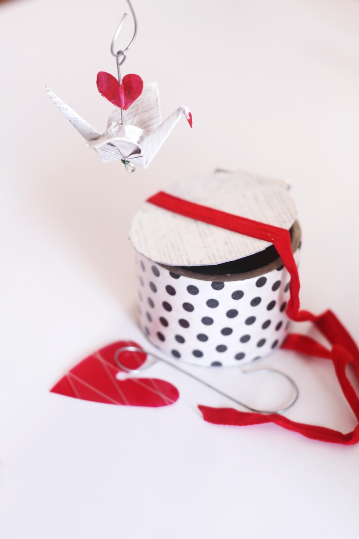 Salavage heart and crane ornament in a recycled box - with love.... www.salvagesrilanka.com