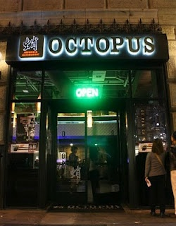 Octopus Japanese Restaurant in Downtown L.A. - Happy hour half price sushi from 3 - 7 PM. Really, really good sushi.