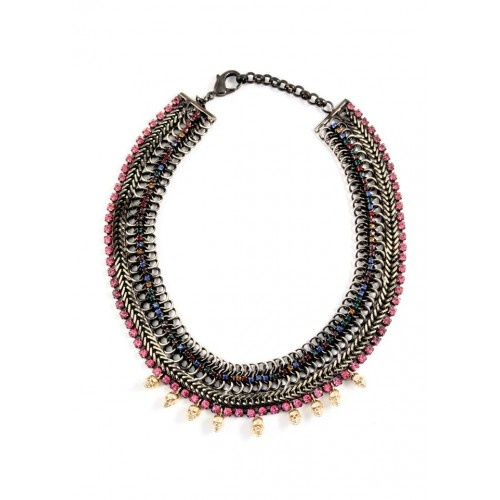 Iosselliani - Pink Rhinestones Brass Necklace