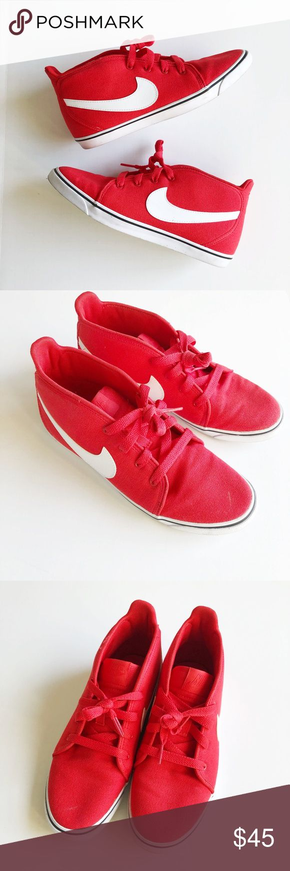 Nike Red Sneakers Red Nike mid/high top sneakers. Worn twice and in excellent condition. Women's size 7. Nike Shoes Sneakers