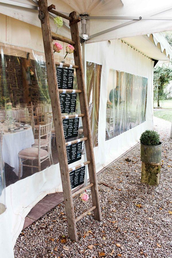 creative rustic table plan on a ladder. Ireland wedding