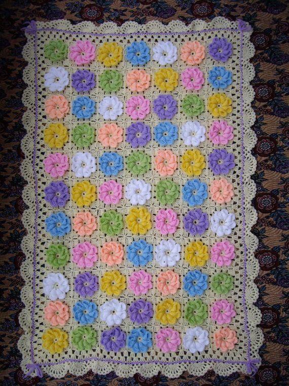 How to put a crochet flower on a blanket