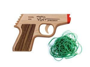 This looks like so much fun! I like the wood finish on this rubber band gun. It looks well made and I hope would last a long time. I will have to buy one for my kids.