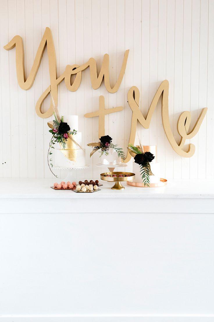 wedding dessert tables - photo by Katie Harmsworth Photography http://ruffledblog.com/mixed-metals-wedding-inspiration