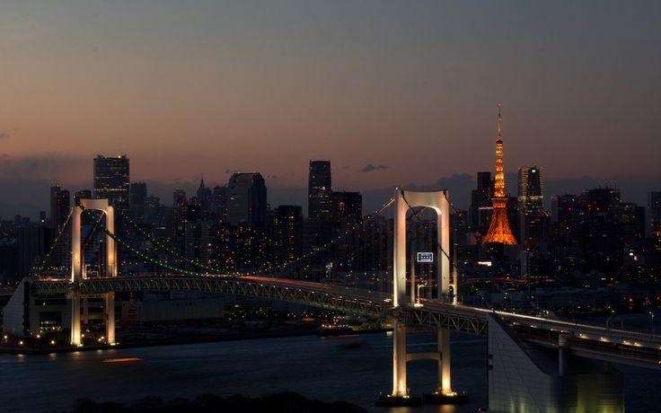 мост, башня, радужный, вечер, токио