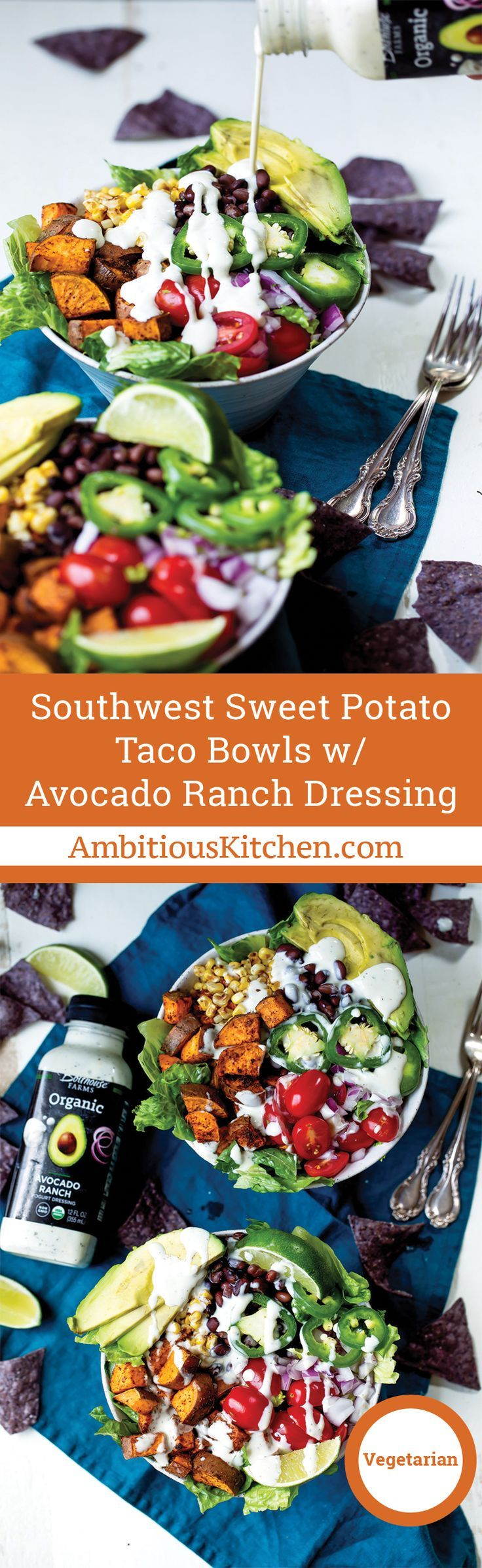Amazing sweet potato taco bowls packed with plant based protein and your favorite southwest flavors, then drizzled with Bolthouse Farms Avocado Ranch yogurt dressing! Easy to make ahead of time & perfect to pack for lunch.