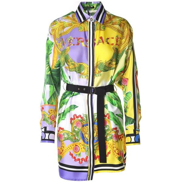 Versace  Printed Silk-Twill Shirt Dress ($1,305) ❤ liked on Polyvore featuring dresses, rosa, multi colored dress, asymmetrical hem dresses, yellow dress, purple shirt dress and purple long sleeve dress