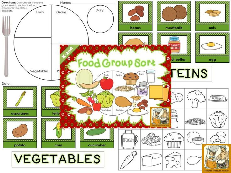 Food Group sort for My Plate/ Food Groups. Color cards mats for ...