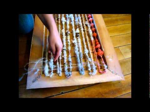 ▶picture frame and staple gun weaving  Weaving with Art Yarn - YouTube