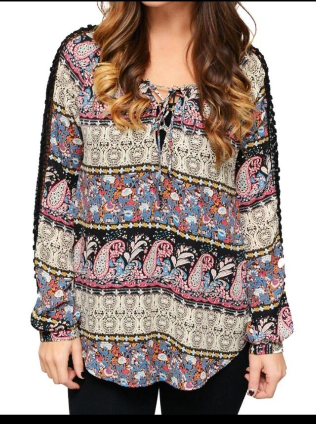 This gorgeous paisley top is back in stock at Bombshell Boutique