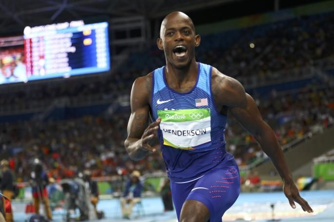 Gold winner: Jeff Henderson of the USA performed a huge leap on a night of drama in the long jump
