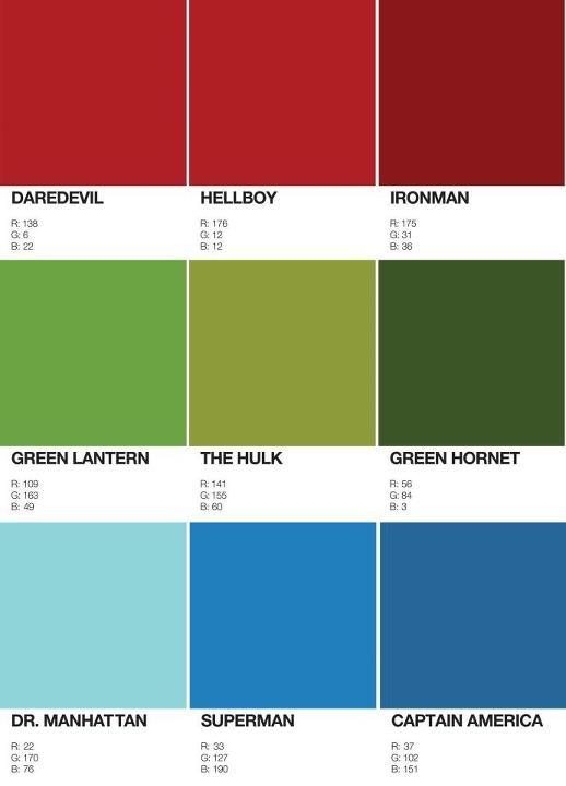 superheroes rgb colors