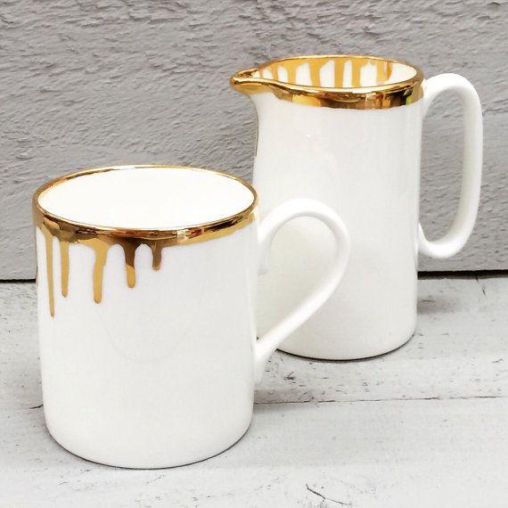 Gold drip bone china mug. от CeramicsForEveryone на Etsy