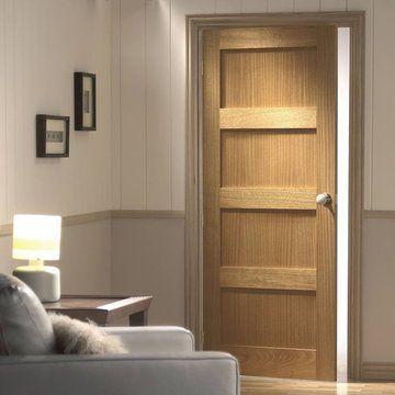 Contemporary 4 Panel Oak Solid Door
