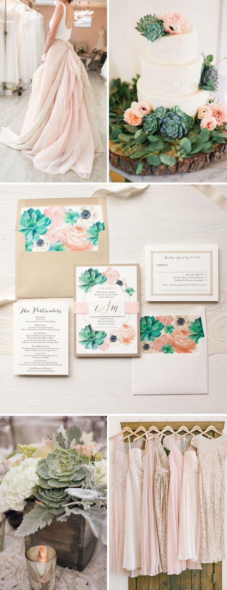 How to scrapbook a wedding invitation - Blush Succulent Anemone Wedding Invitations