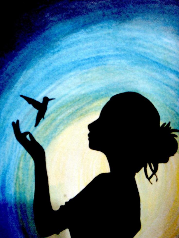 watercolour pencils, hummingbird, girl