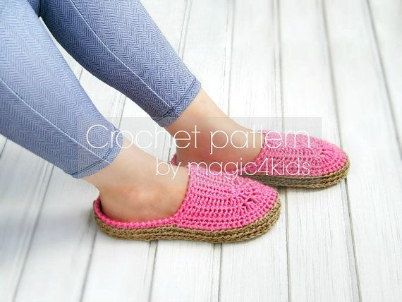 Crochet pattern slippers with rope solessoles by magic4kids