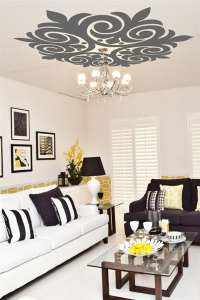 Ceiling Art Decals Scroll Medallion DIY WALLTAT Wall Decals