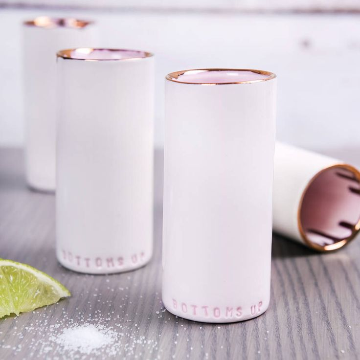 I've just found Ceramic Shot Cup In Pink And Copper. Simply stunning Hand Made Shot Cups. There is a distinctive drip in a copper lustre on the inside of each cup. £24.95