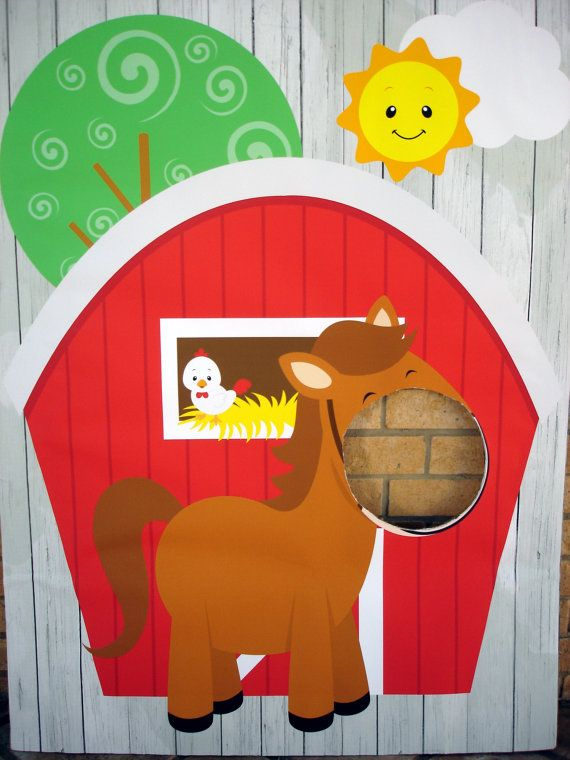 3ft.x4ft. Farm Animal/ Red Barn/ Horse by SweetCarolinesStudio