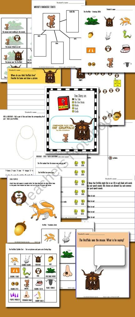 Read Free Books - Gruffalo Companion Pack from All That Chit Chat on TeachersNotebook.com (38 pages)  - Companion Pack to The Gruffalo by Julia Donaldson Includes link to story on YouTube  CONTENTS  Story Sequencing  Writing Prompt  Create Your Own Writing Prompt  Listening Skills - Following Directions  Syllable Sort  Where do I live? Matching  Gruffalo�