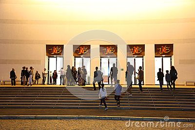 National Theatre Ion Luca Caragiale in Bucharest night, Romania - main entrance.