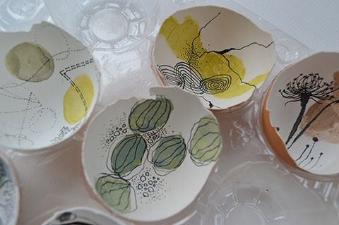 Gouache and Markers on Egg shell shards www.rubysilvious.com
