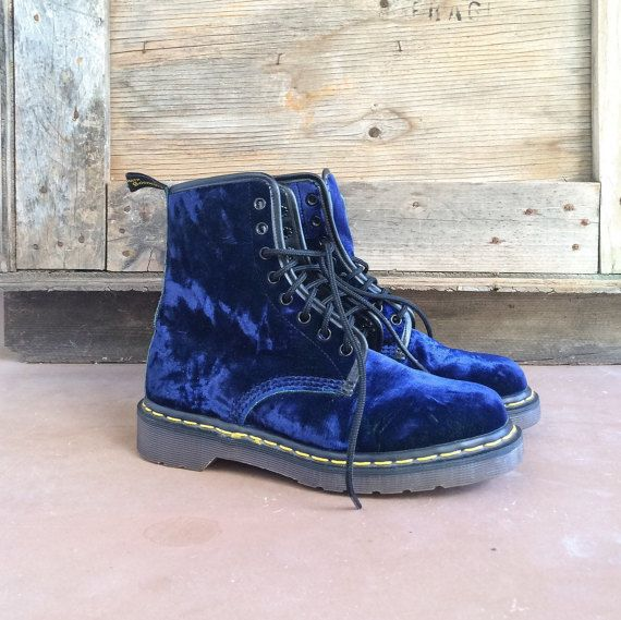 Rare crush blue velvet Dr Martens Made in England by romaarellano