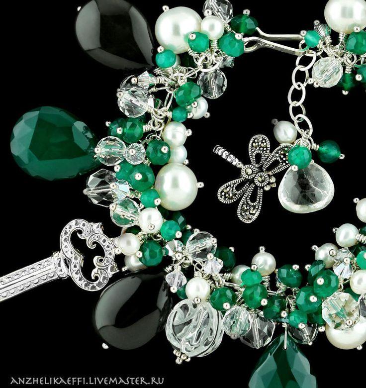 Купить Арт БРАСЛЕТ серебряный женский натуральный камень Серебро Камни Жемчуг