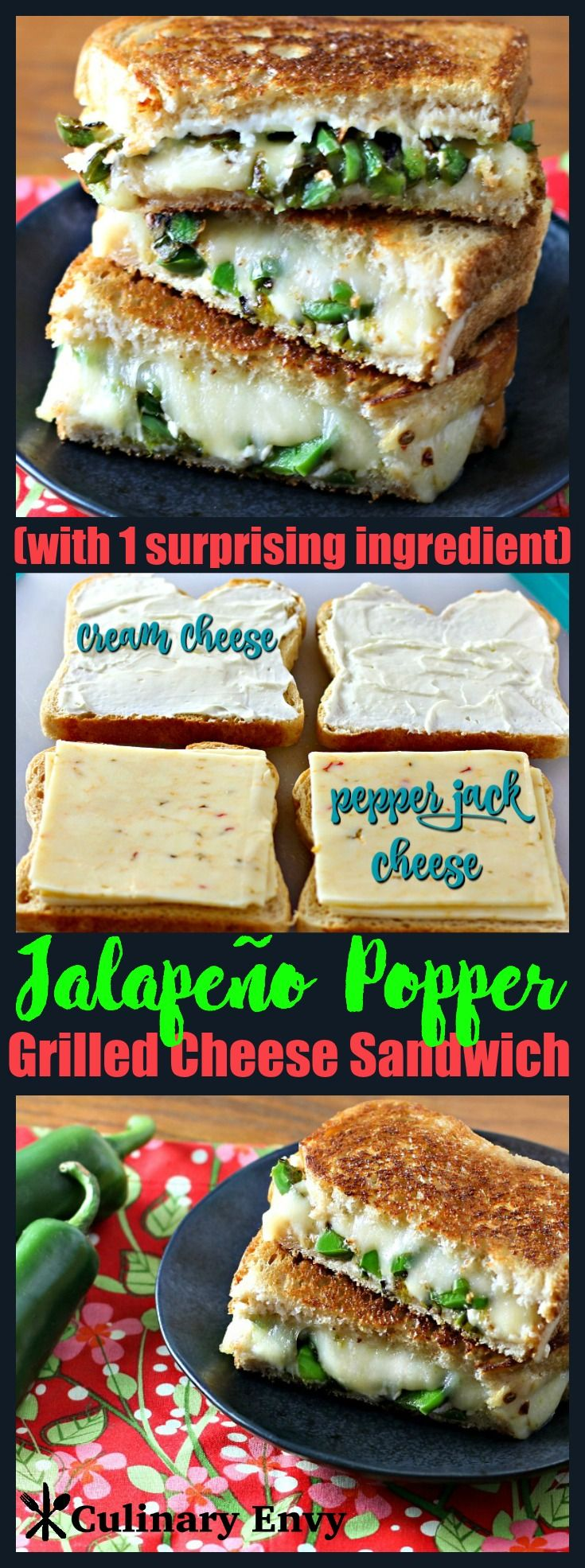 Jalapeño Popper Grilled Cheese Sandwich is like everyone's favorite jalapeño popper appetizer melted between golden, buttery bread with 2 creamy cheeses and 1 crunchy surprise! It's the grown up version of the classic grilled cheese sandwich lunch meal! Click to read more!