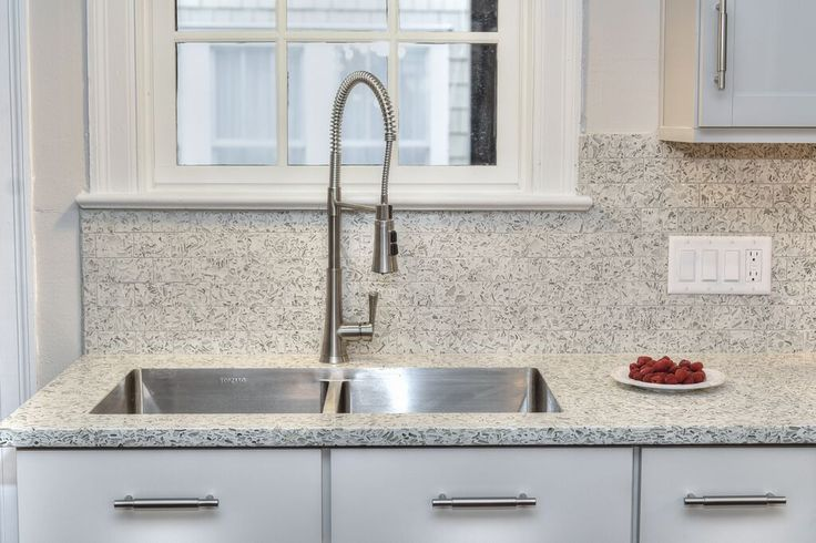 Neutral White Kitchen Design With Vetrazzo Recycled Glass Counters And  Mosaic Tile Backsplash In Martini Flint