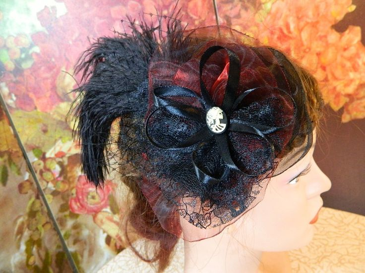 Fascinator black red skull lady Gothic Steampunk Lolita Headpiece Headdress clubbing by Nashimiron on Etsy