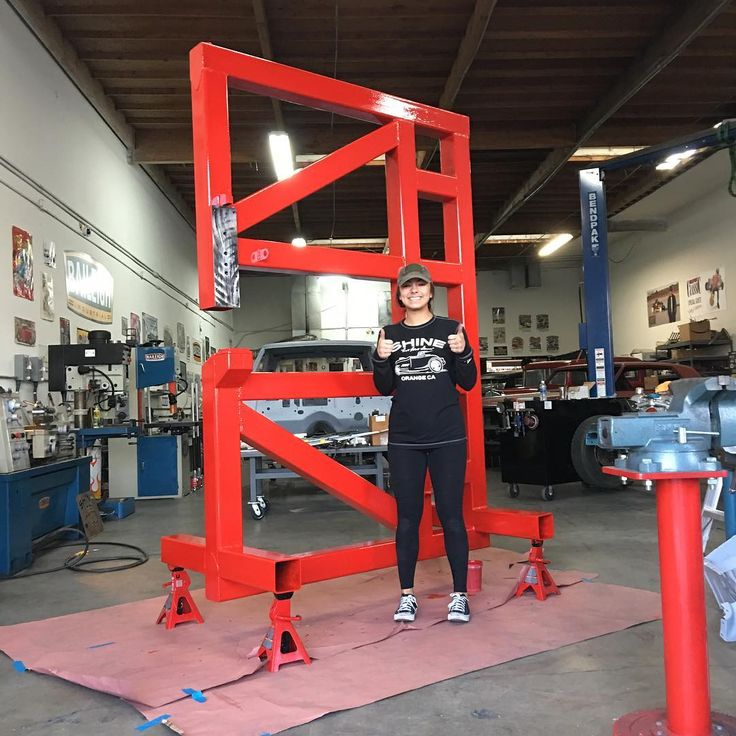 "Final picture of the day......my daughter Kayla and the louver press ""El Macho Rojo""...... Kay did welding wire wheeling and then painted it!.....more to come! Proud of my girl! @miller_welders @baileigh_industrial @branden53 @dblbaad #louvers #machine #family #welding #tools #daddydaughter ...... watch out Kay is going with me and Billy G in January to Australia for a tour......here we come!"