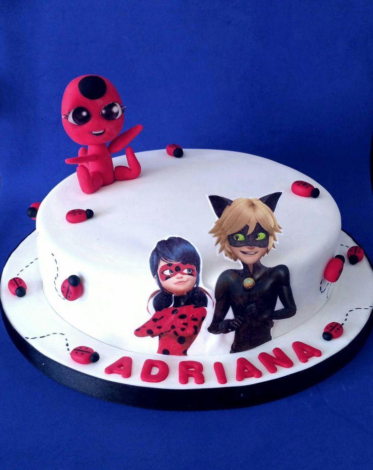 Tarta Ladybug, Chat Noir y Tikki