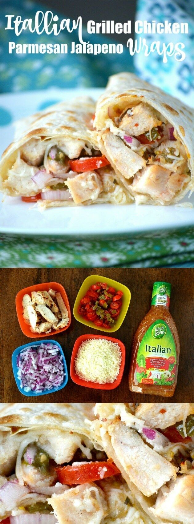 This Italian Grilled Chicken Parmesan Jalapeno Wraps recipe is not hard to make, only uses a few ingredients, and is delicious and ready in just about 20 minutes! #ad