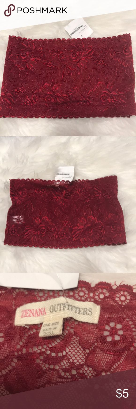 Burgundy Lace Bandeau Bra New with tags! Never worn! Burgundy lace bandeau bra Zenana Outfitters Intimates & Sleepwear Bandeaus