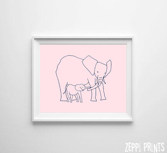 Pépinière Safari Elephant maman bébé rose marine par ZeppiPrints