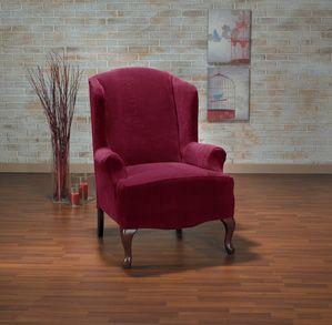 Hanover Merlot Wing Chair Slipcover. Plush, velvety surface, contemporary, modern upholstery for home decor, form fit slip cover design, living room, interior design
