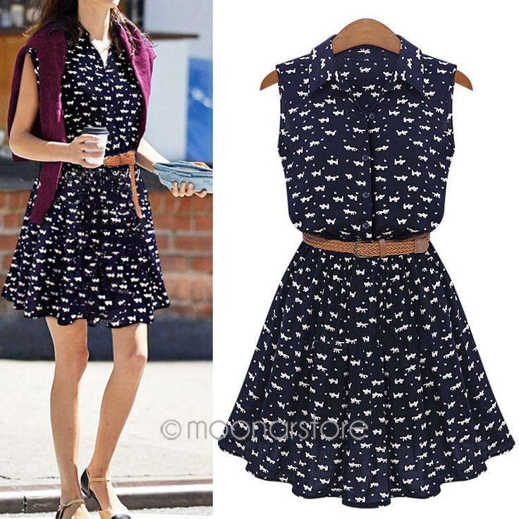 2015 nova mulheres europeia de verão camisa gato pegadas zE3253A4 incluir  correia frete grátis em Vestidos