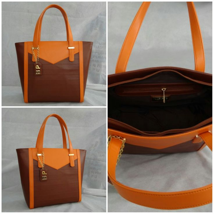"Our Large Super ""V"" Tote customized in Cherry Wood body, Orange top with Gold metal work, Cherry Wood Inside lining and a Hanging tag monogram. :) See more at: http://www.toteteca.com #baglove #tote #customized #customercreation #monogrammed"
