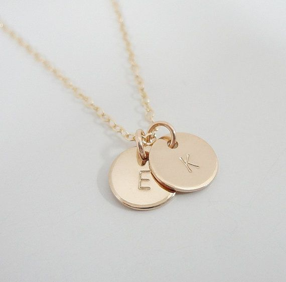 »» ITEM FEATURES ««  ♥ tiny 3/8 (9.5mm) 14k Gold Filled discs hand stamped with your choice of initials ♥ 14k Gold Filled cable chain ♥ Finish: Polished (shiny) or Brushed (matte) ♥ Available Fonts: -see chart ♥ Initials are clear, not darkened ♥ All 14k Gold-Filled  *~*˜*~*˜*~*˜*~*˜*~*˜*~*˜*~*˜*~*˜*~*˜*~*˜*~*˜*~*˜*~*˜*~*˜*~*˜*~*˜*~*˜*~*˜*~*  HOW TO PERSONALIZE YOUR ITEM:  Please select the number of initial discs you would like and your chain size from the drop down menu and make sure to…