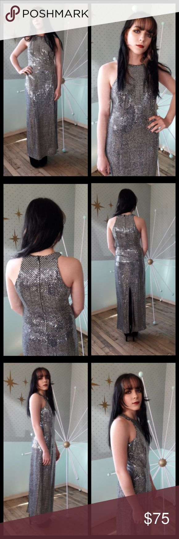Gorgeous! Vintage 80's silver sequin maxi dress! Beautiful silver sequin maxi by All That Jazz circa 1980's! Dress is lightweight and easy to wear and has some stretch. Made from reflective mirror sequin mesh. Zipper back with slit. Shows off shoulders! Vintage size 9/10 but please see measurements for sizing:  Pit to pit: 17 inches  Waist: 14 inches Hip: 19 inches Length: 53 inches   All measurements taken lying flat 💖 Vintage Dresses Maxi